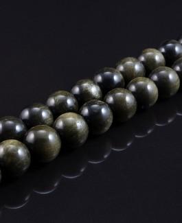 Auksinio obsidiano karoliukai 6mm 60vnt KA190